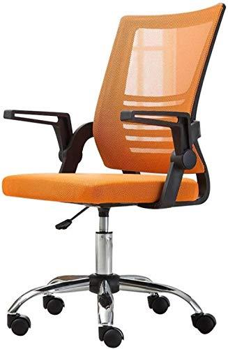 Cómoda silla de oficina con respaldo alto y elástico fijo lumbar ergonómico de malla ejecutiva silla ajustable con brazos abatibles-naranja