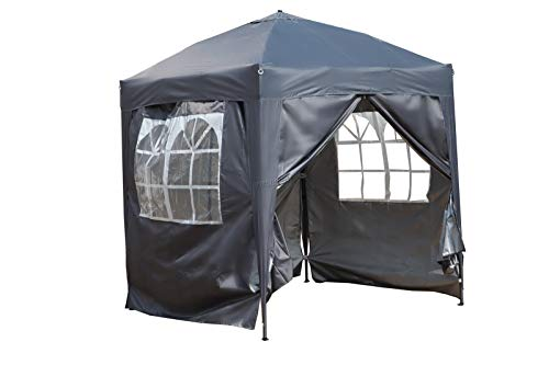 Photo of BIRCHTREE Waterproof 2m x 2m Pop Up Gazebo Marquee Garden Awning Party Tent Canopy 210D Oxford Cloth Powder Coated Steel Frame With Anchor Kits Grey