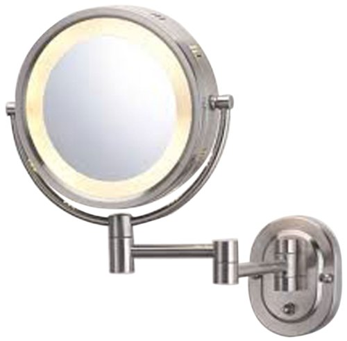 See All HLNSA895 Halo Lighted 8-Inch Diameter Wall Mounted Make Up Mirror 5X, Nickel