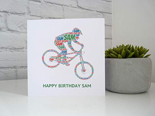 Personalised Mountain Biker Birthday Card, Downhill Mountain Bike Card, Personalised Birthday Card