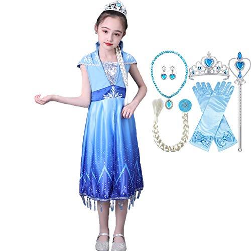 Fanessy Elsa Snow Queen Disfraz niña Princesa Vestido Gasa de Lentejuelas Azul Vestido de Noche disfrazarse para niños Halloween Navidad Carnaval cumpleaños Tema Fiesta película Cosplay Disfraz 3-10
