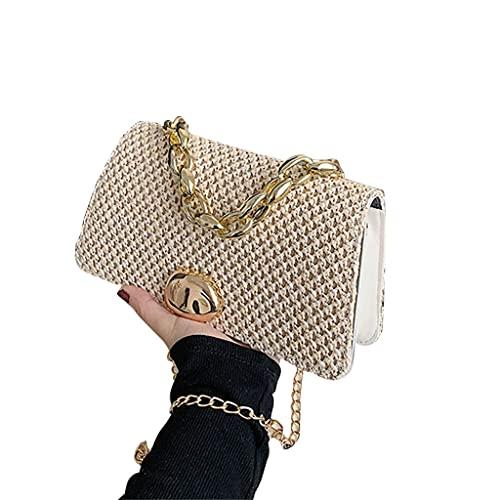 Fashion Handbag,Summer Beach Bag Rattan Leather Bag Alloy Handle Straw Crossbody Tote Handbag Fashion Handwoven Bags for Ladies