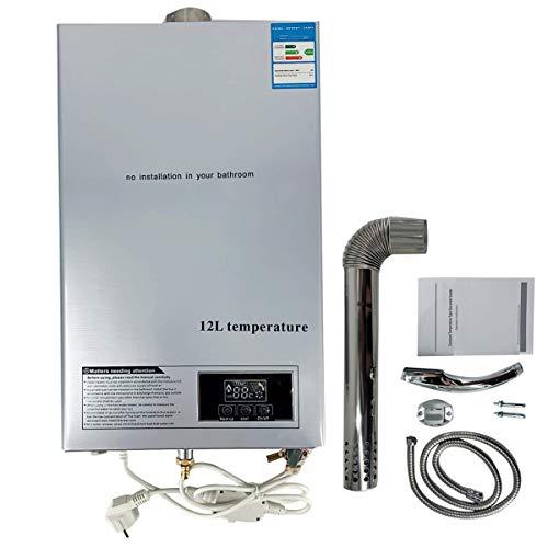 Cozyel 12L Erdgas-Durchlauferhitzer Erdgas Warmwasserbereiter Heißwasserbereiter Durchlauferhitzer Boiler Warmwasserspeicher Tankless Instant mit Thermostatregler, LED Bildschirm (3.2 GPM)