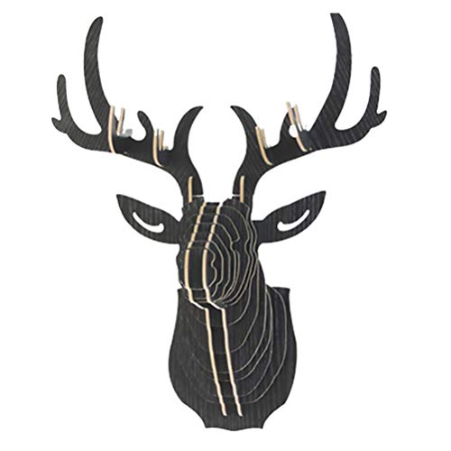 Garneck Decorazione Testa di Cervo in Legno Artigianato Creativo Famiglia Caratteristica Decorazione Murale Decorazione Forma Testa di Cervo (Nero)