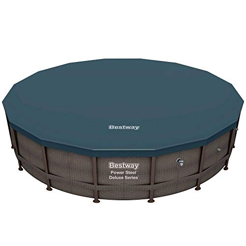 Bestway 14' x 42' Power Steel Deluxe Above Ground Round Swimming Pool Set with 680 GPH Filter Pump, Pool Cover, and Ladder