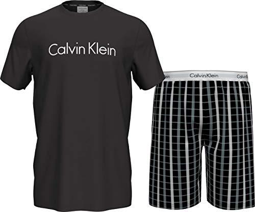 Calvin Klein S/S Short Set Juego de Pijama, Parte Superior Negra/Parte Inferior de Cuadros Perforados, S para Hombre