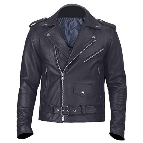 Angel Fire Herren Motorradjacke Biker Rindsleder Schwarz Gr. Medium, Black Biker Leather Jacket