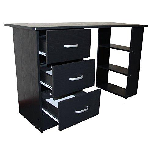 Redstone Schwarz Schreibtisch - 3 Schubladen + 3 Regale - Arbeitstisch Computertisch Bürotisch