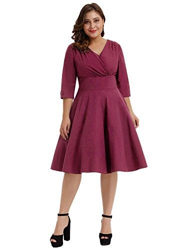 Hanna Nikole Plus Size Women's V-Neck 3/4 Sleeved 1950s Vintage Tea Party Dress Wine Red 1X