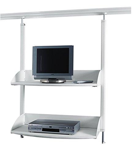 Preisvergleich Produktbild Legamaster 7-325300 Multimedia Regal für Legaline Dynamic Wandschienensystem,  2 verstellbare Böden,  weiß