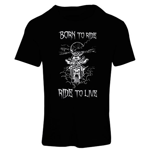 lepni.me N4690F Camiseta Mujer Born To Ride! Motorcycle Clothing (XX-Large Negro Multicolor)