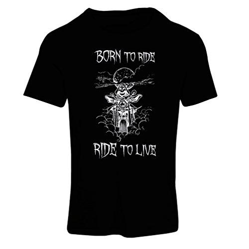 Maglietta Donna Born To Ride! Motorcycle Clothing (Medium Nero Multicolore)