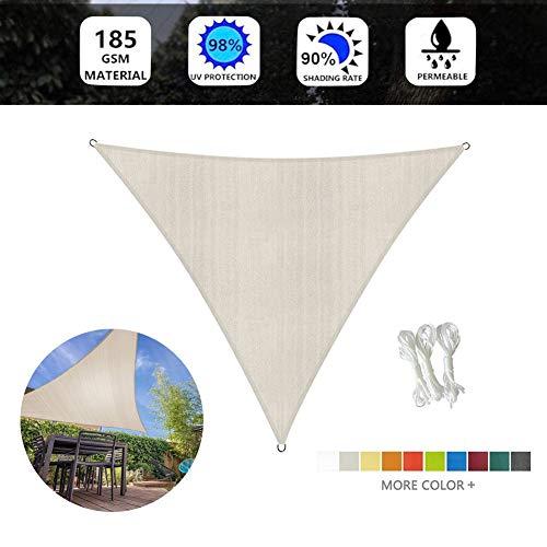 ZXD Triangular Toldo Vela De Sombra, 98% Protección UV, Transpirable Vela Solar For Patio De Jardín Piscina Terraza Camping, 7 Colores Y 4 Tamaños (Color : Beige, Size : 3X4X5M)
