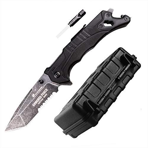 Klappmesser Extra Scharf 9Cr14MoV Edelstahl Messer geführt Werden Outdoor-Messer und Jagdmesser mit Anspitzer Pfeifen Flaschenöffner Schraubenzieher Glasbrecher Gurtschneider Taschenmesser