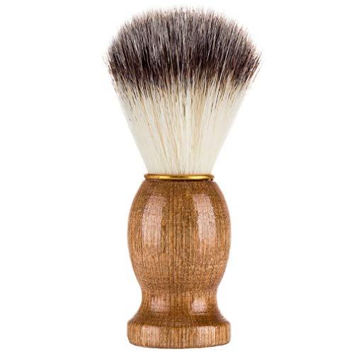 Greatwall Brosse de Rasage Pratique Visage Blaireau Cheveux Barbe Nettoyage Rasoir Brosse pour Hommes Couleur en Bois