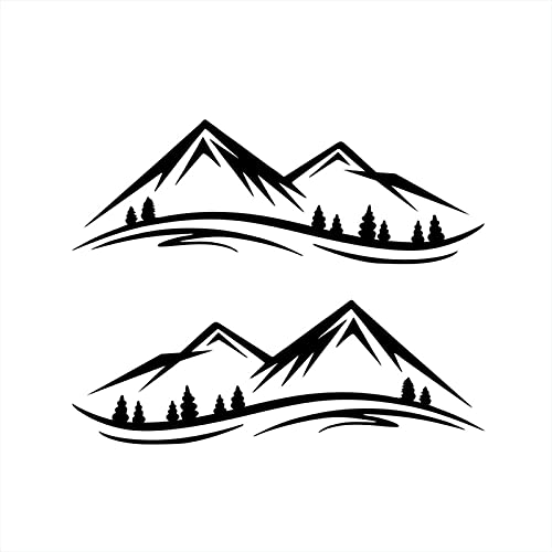 1 par de pegatinas de montaña para coche, coche, coche, puerta, nieve, montaña, vinilo gráfico para decoración para vehículos todoterreno, camión, todoterreno