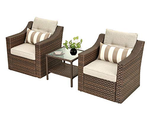SOLAURA 3-Piece Outdoor Furniture Set All-Weather Brown Wicker Bistro Set Patio Chairs with Glass-Top Coffee Side Table & Seat Cushions for Garden,Yard, Lounge, Front Porch, Deck, Lawns, Poolside