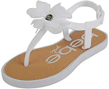bebe Girls  Thong Sandals with Chiffon Flowers White Size 9-10 Toddler