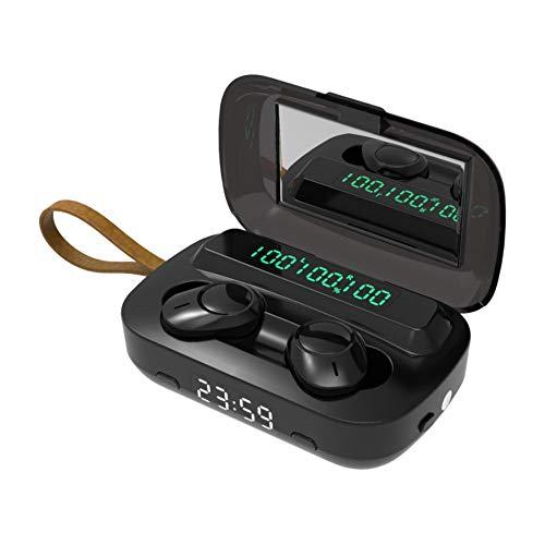jinclonder Auriculares inalámbricos Bluetooth M13 binaural Bass in-Ear TWS Touch 5.0 Fuente de alimentación de Auriculares/Linterna LED/Espejo cosmético/Reloj Despertador, Uso Multifuncional 5V 1A