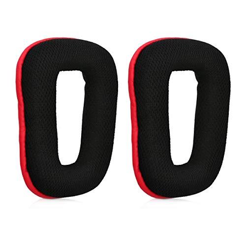 kwmobile 2X Ohr Polster kompatibel mit Logitech G430 / G35 / G930 / F450 - Ohrpolster Kopfhörer - Kunstleder Ersatz Polster für Overear Headphones
