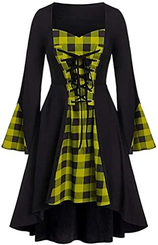 DSKEFE Vestido para mujer, talla grande, de Halloween, con encaje, retazos, manga larga, mini vestido para fiesta, cóctel, noche, S-5XL