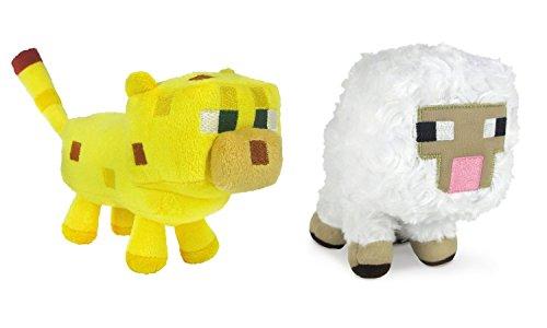 Mojang SKMYT Minecraft Sheep and Ocelot Plush Set, 6-8 Inches