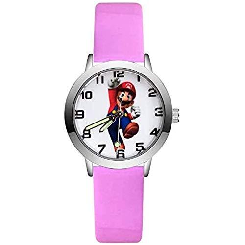 buyaoku Super Mario Reloj Moda Lindo Estilo Mario Reloj Estudiante niña niño Reloj de Cuero de Cuarzo