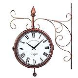 Youwise Reloj de Pared de Doble Cara 40 cm * 30 cm, Reloj de Estación de Tren de Color Cobre, Reloj de Pared de Hierro, Reloj de Pared Números Romanos, Reloj de Pared Retro con Exquisita Decoración