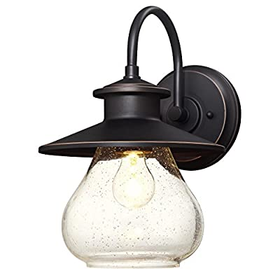 Westinghouse 6361200 Delmont One-Light, Weathered Steel Finish with Clear Seeded Glass Outdoor Wall Fixture