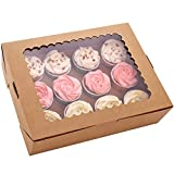 6-Set Cupcake Boxes Hold 12 Standard Cupcakes, Brown Cupcake Containers, Cupcake Carrier, Food Grade Kraft Cupcake Holders for Cookies, Muffins and Pastries