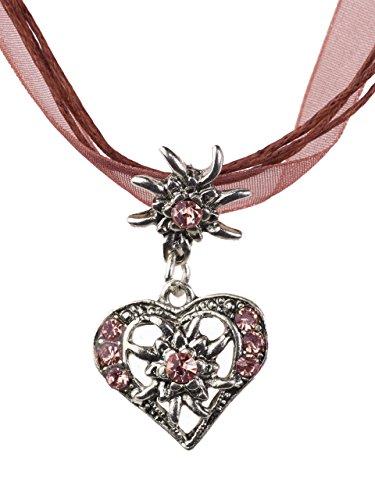 Trachtenkette elegantes Herz mit Strass und Edelweiss in vielen Farben - Anhänger Trachtenschmuck Kette für Dirndl und Lederhose Damen (Weinrot)