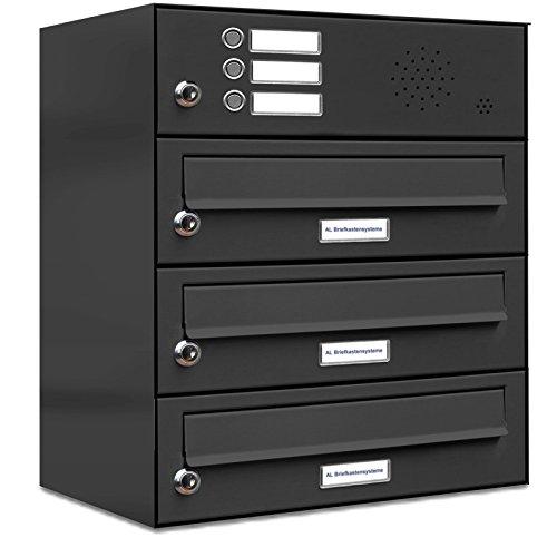 AL Briefkastensysteme 3er Briefkastenanlage mit Klingel Anthrazit Grau RAL 7016, Premium Briefkasten DIN A4, 3 Fach Postkasten modern Aufputz