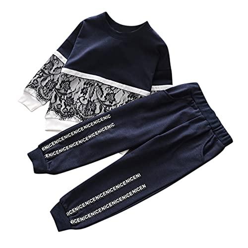 Little Girls Kids 2pcs Clothes Set Fashion Lace Sweatshirt Tops Long Pants Leggings Tracksuit Sets Outfits Athletic Suits Navy