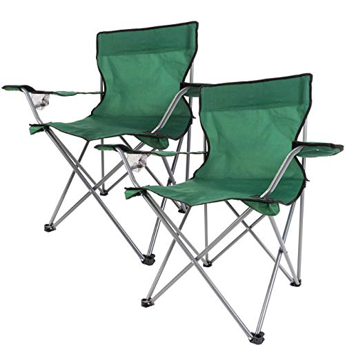 Anaterra 2 x Faltstuhl, Campingstuhl, mit Getränkehalter und Armlehne, leicht und robust, grün