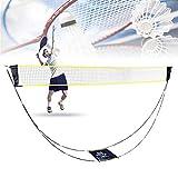 Bilisder Filet de Badminton Portable, Support de Filet de Badminton de Tennis de Volley-Ball Pliable avec Sac de Transport Configuration Facile pour la Cour Arrière/Intérieure Aucun Outil Requis
