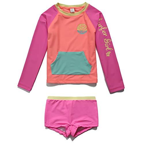 PHIBEE Girls' Rash Guard Set Long Sleeve UPF 50+ Sun Protection Two-Piece Swimwear Rose 8