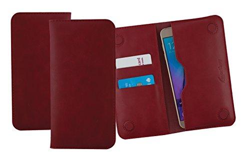 emartbuy Garnet Rot PU Leder Magnetisch Schlank Brieftasche Tasche Sleeve Halter (Size LM4) Kompatibel mit Smartphones Aufgeführt Unten