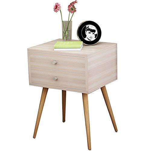 Axdwfd Table de chevet en bois massif avec 2 tiroirs, élégante table basse canapé table d'appoint salon chambre, 4 couleurs 48x40x58CM (Couleur : D)