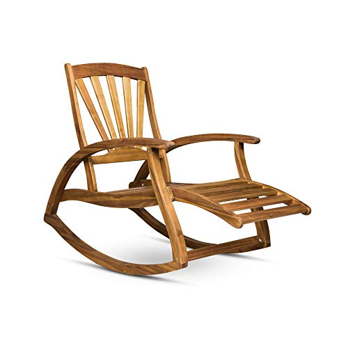 Contemporary Home Living 52.75' Brown Traditional Outdoor Patio Rocking Chair with Footrest