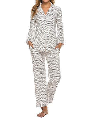 MINTLIMIT Damen Pyjama Lang mit Knopfleiste Langarm Freizeitanzug mit Eingriffstaschen Weiß Dots S