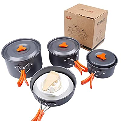 Camping Cookware Mess Kit, Portable Cooking Utensils for Outdoor Camping Backpacking Trekking Hiking Picnic 15Pcs