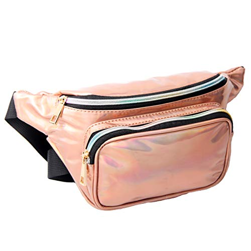 Iuulfex Fanny Pack for Women Holographic Fanny Pack Waist Bag Iridescent Cute Bum Bag Fashion for Rave Party Festival