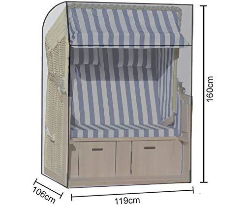 GRASEKAMP Qualität seit 1972 Strandkorb Schutzhülle 119 x 106 x 160 cm PVC Transparent Abdeckung Haube Plane UV stabil wasserdicht