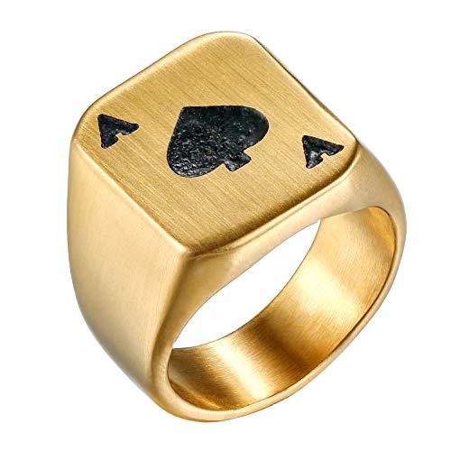 Flongo Anillo de Compromiso de Hombre Mujer, As de Picas Anillo de Sello Grande de Poker, Anillo Acero Inoxidable Retro Vintage, Dorado Negro Talla 12 Americana