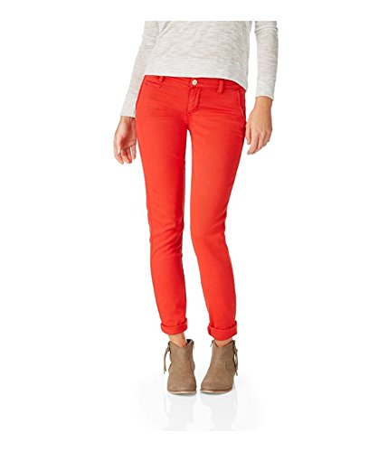 Aeropostale Womens Skinny Twill Pants Casual Trousers, red, 2 Regular
