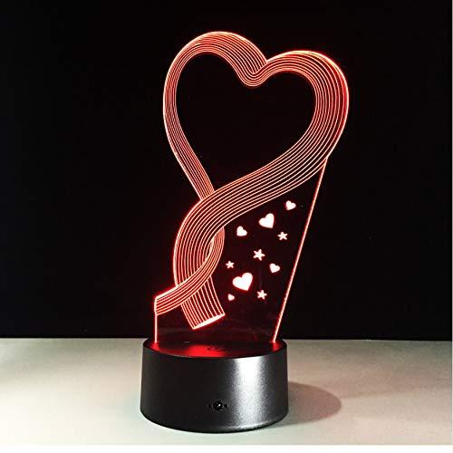 Meilleur Cadeau Mariage Décoration Nuit Lumière 3D Led Lampe De Table Amour Usb Touch Rc Changement De Couleur Fête Famille Cadeau De Vacances