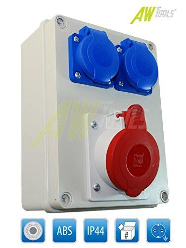 Baustromverteiler/Wandverteiler 1 x CEE 16A/400V 2 x 230V Schuko verdrahtet (B.1602-S_1)