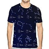 N/A Mens Cotton T-Shirt Quality TShirtszodiac Horoscope Set twel Unisex T-Shirt