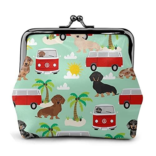 Monedero monedero PU cuero bolsa Dachshund verano playa surf perro palmeras mujer cartera embrague bolso señoras retro vintage impresión pequeño cerrojo