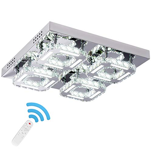 KKMYWAN Crystal Ceiling Light Flush Mount 4-Head Dimmable CCT Changing Modern Chandelier with Remote Control LED K9 Crystal Ceiling Lamp 125lm/w CRI80 3000k/4000k/6000k, Chrome, by Kai